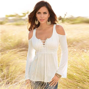 LMFUS4 Sexy New Women blouse shirt  Big O Neck Solid women  Blouse Top Fashion OL Style Shirt lace blouse off shoulder