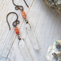Sunstone & raw clear quartz point asymmetric dangle earrings, semiprecious gemstone, subtle orange feldspar, healing crystal artisan jewelry