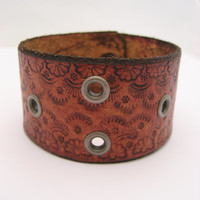 Eyelet Leather Bracelet Brown Leather Cuff Real Leather Snap Leather Jewelry Eyelet Bracelet Jewelry Fully Hand Tooled Womans GIfts Under 20