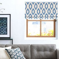 Quick Fix Washable Roman Window Shades Flat Fold, Blue Ikat