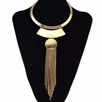 2 Colors Punk Gold Silver Fashion Choker Necklaces & Pendants Tassel Geometric Shape Africa Tribe Long Necklaces Women Jewelry