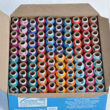 Coat's Moon all purpose sewing 1 box of 100 spools in 20 Attractive Colors-each  5 spools 100% spun polyester thread, best deal from India!