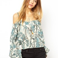 Denim & Supply By Ralph Lauren Floral Cut Out Shoulder Top