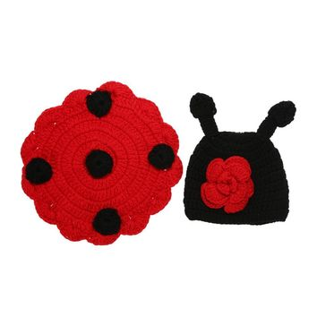 Baby Photo Props Newborn Infant Cute Wool Knit Ladybug Costume Hat Shell Birthday Party Baby Shower Photography Prop FCI#