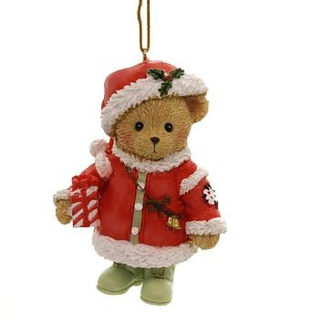 Cherished Teddies SANTA TEDDY ORNAMENT 2018 Polyresin Annual 132071