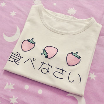 Japanese Delicious Egg Strawberry Printed Kawaii T-shirt Peplum Tops Short-sleeve Cotton T-shirt Woman Clothes Tops Tee
