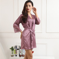 Women Silk Satin Robes Sexy Kimono Nightwear Sleepwear Pajama Bath Robe Nightgown With Belt LY6