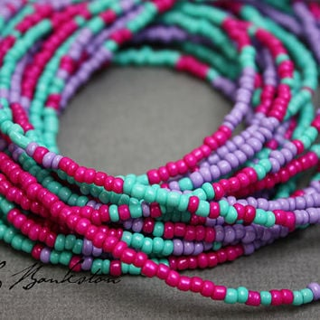 Seed Bead Necklace-Pink Purple Turquoise Seed Bead Single Strand Necklace-Layering Necklaces-Dainty Necklace-Kathy Bankston-Beaded Necklaces