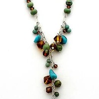 Turquoise Beaded Lavalier Necklace Sterling Silver