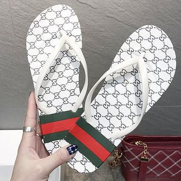 GUCCI Summer Popular Women Casual GG Letter Flat Sandal Slipper Shoes Flip-Flops White