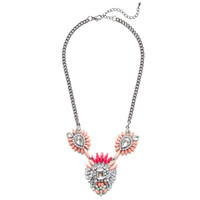 Coral Spiked Bloom Necklace