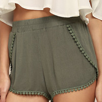 Breeze By Olive Green Embroidered Shorts