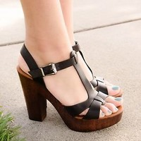 New Women's Sandals Chunky Heel Platform Open Toe High Heel Sandal Shoes Black