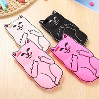 3D Cute Cat Soft Sillicon Cover For Iphone 5 5S Lord Nermal Pocket Kitten Back Case
