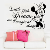 Minnie Mouse Wall Decals Quote Little Girls Dreams Vinyl Sticker Nursery SM81