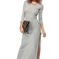 Long Sleeve Grey Knit Maxi Dress