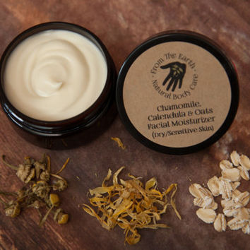 Chamomile, Calendula, & Oats Facial Moisturizer - all natural, vegan, organic skin care for very dry, sensitive, eczema prone skin