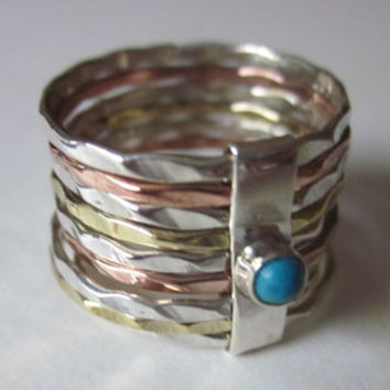 turquoise mixed metals gemstone ring multiple eternity bands silver copper sterling eternity worry wedding bridal endless 925 silver stamped