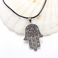 1pc 2017 Good Luck Protection Hamsa Fatima Hand Evil Eye Pendant Chain Necklace antique silver/bronze hamsa hand necklace