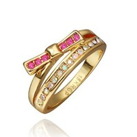 DUMAN 18K Yellow Gold Plated Rose Bow-knot Ring Swarovski Elements Crystal, Size 8