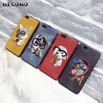 NECONO Cute 3D Embroidery Dog Teddy Pug HUSKY Dog Pet Cover Case For iPhone X 6 6s Plus 7 7Plus 8 8P Soft Mobile Phone Case Capa