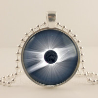 Solar Eclipse, Space, Astronomy glass and metal Pendant necklace Jewelry.