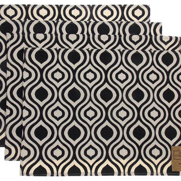 Black White Placemats Apron & Carry Bag Tote Set of 6 Home Concepts Casa Printed