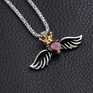Retro Mens King Crown Pendant Necklace Charms Angel Wings Flying Heart punk Red crystal endants Necklaces for Women Accessories