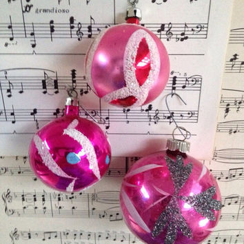 Pink magenta and sapphire vintage ornaments