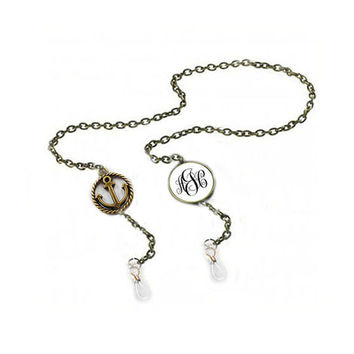 507730a8a9ae Anchor Personalized Monogram Eyeglass Chain Holder Silver Eye.