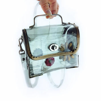 90's Clear PVC Box Mini Purse with Flowers