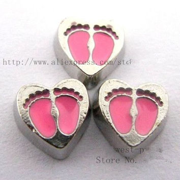10PCS pink baby feet floating locket charm DIY Accessories Fit for Locket Free shipping ! FC175