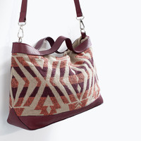 Ethnic print messenger bag