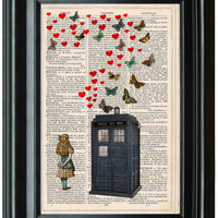 Doctor Who Tardis dictionary art print book page antique vintage dictionary print wall art, Victorian decor, Alice in Wonderland Butterflys