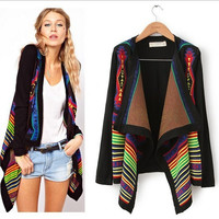 Cardigan Knit Loose Print Asymmetric Sweater