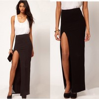 Chic Slim Womens Sexy Side Split Maxi Long Cocktail Skirt Black Cotton Dresses