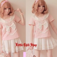Sweet Cute Lolita BOW crew neck Heart Top Shirt + Mini Shorts Skirt 2PCS 2 Color