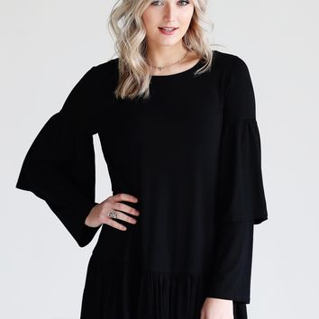 Black DLMN Long Sleeve Ruffle Tunic