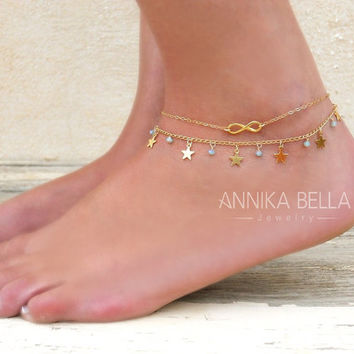 Layered Gold Anklet Set, 2 Gold Anklets - Gold Infinity Anklet, Gold Star and Beads Anklet,  Set Of 2 Anklets,