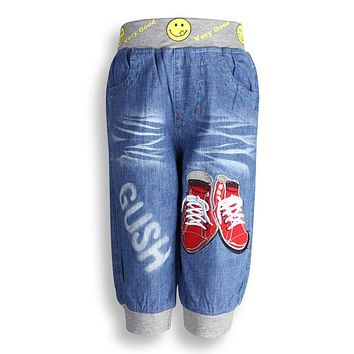 Teen Boy's trousers with embroidery shoe pattern and elastic waist Kid's Jeans Children's summer AUTUMN wearing XML-A67870