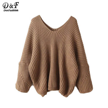 Womens Fall Sweaters Knitwear High Fashion Sweater for Women Sexy Fall Tops V Neck Drop Shoulder Oversized Sweater