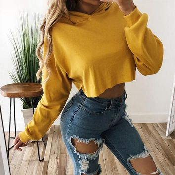 DeRuiLaDy 2018 Autumn Winter New Women Hoodies Sweatshirt Sexy Long Sleeve Lace Up Loose Hooded Casual Crop Top Sudaderas Mujer