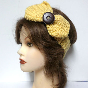Women's yellow crochet large bow large brown button accent headband, ear warmer, yellow crochet bow button headband, gift