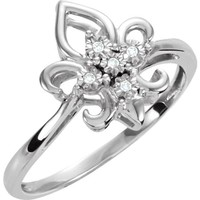 Sterling Silver .03 CTW Diamond Fleur-de-Lis Ring
