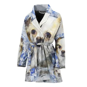 Cute Chihuahua Dog Color Art Print Women's Bath Robe-Free Shipping
