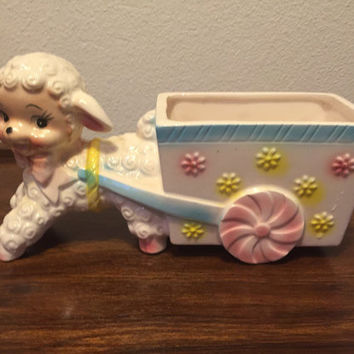 1960's Vintage Nursery Lamb Baby Ceramic Planter by Parma Made in Japan