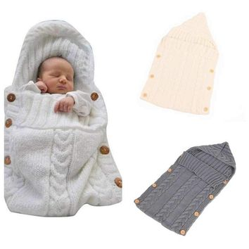 Baby Blanket Warm Crochet Knitted Newborn Covers Solid Color Swaddle Wrap Infant Sleeping Bag