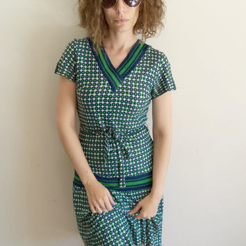 Vintage 60s Green and Blue Drop Waist Tennis Scooter Dress