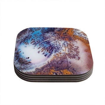 "KESS Original ""Snow Agate"" Blue Orange Coasters (Set of 4)"