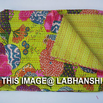 Twin Kantha Quilt Blanket Throw Bedspread Bed Cover In Floral Lime Green